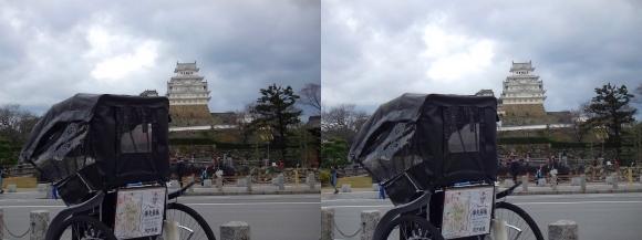 姫路城と人力車(平行法)