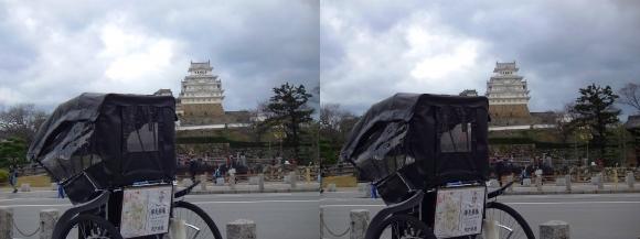 姫路城と人力車(交差法)