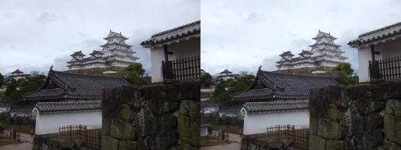 姫路城西の丸カの櫓北方土塀からの天守閣②(平行法)