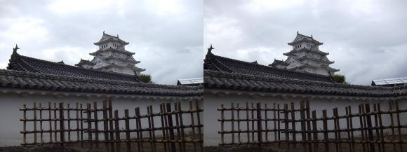 姫路城西の丸カの櫓北方土塀からの天守閣①(交差法)