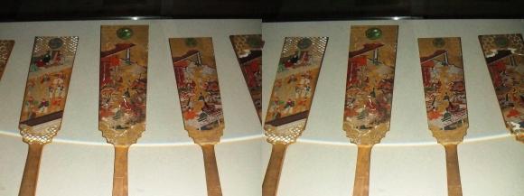 姫路城西の丸渡櫓展示 千姫奉納羽子板(平行法)