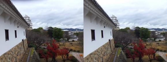 姫路城西の丸渡櫓からの天守閣③(平行法)