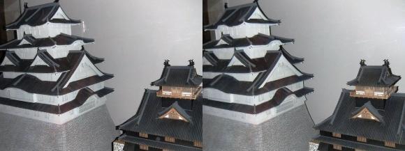 姫路城西の丸渡櫓展示 現在の姫路城と秀吉時代の姫路城(平行法)