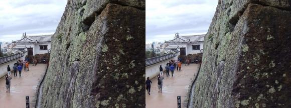 姫路城帯の櫓付近からの太鼓櫓(平行法)