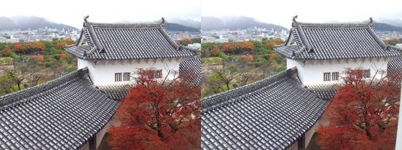 姫路城大天守からの北腰曲輪ホの渡櫓(平行法)