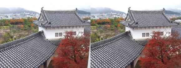 姫路城大天守からの北腰曲輪ホの渡櫓(交差法)