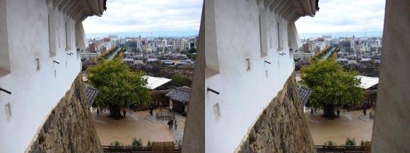 姫路城ニの渡櫓からの大手町通り(平行法)