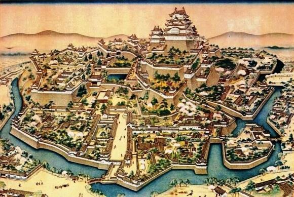 姫路城鳥瞰図(明治初期)
