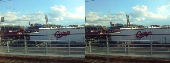 新幹線車窓からのMAZDA ZOOM-ZOOM スタジアム 広島① (交差法)