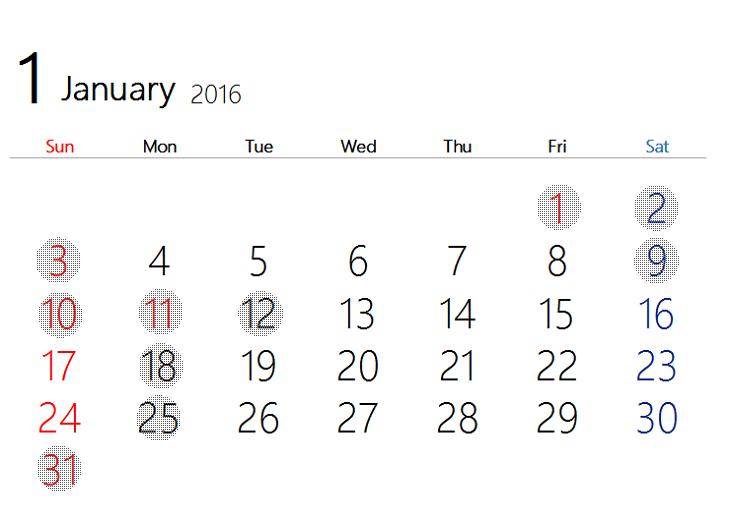 2016 1月カレンダー