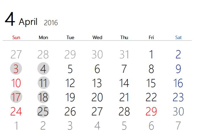 2016 4月カレンダー