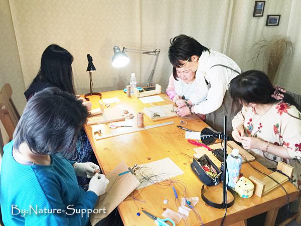 マクラメ編み教室-3個ルース包みブレスレット