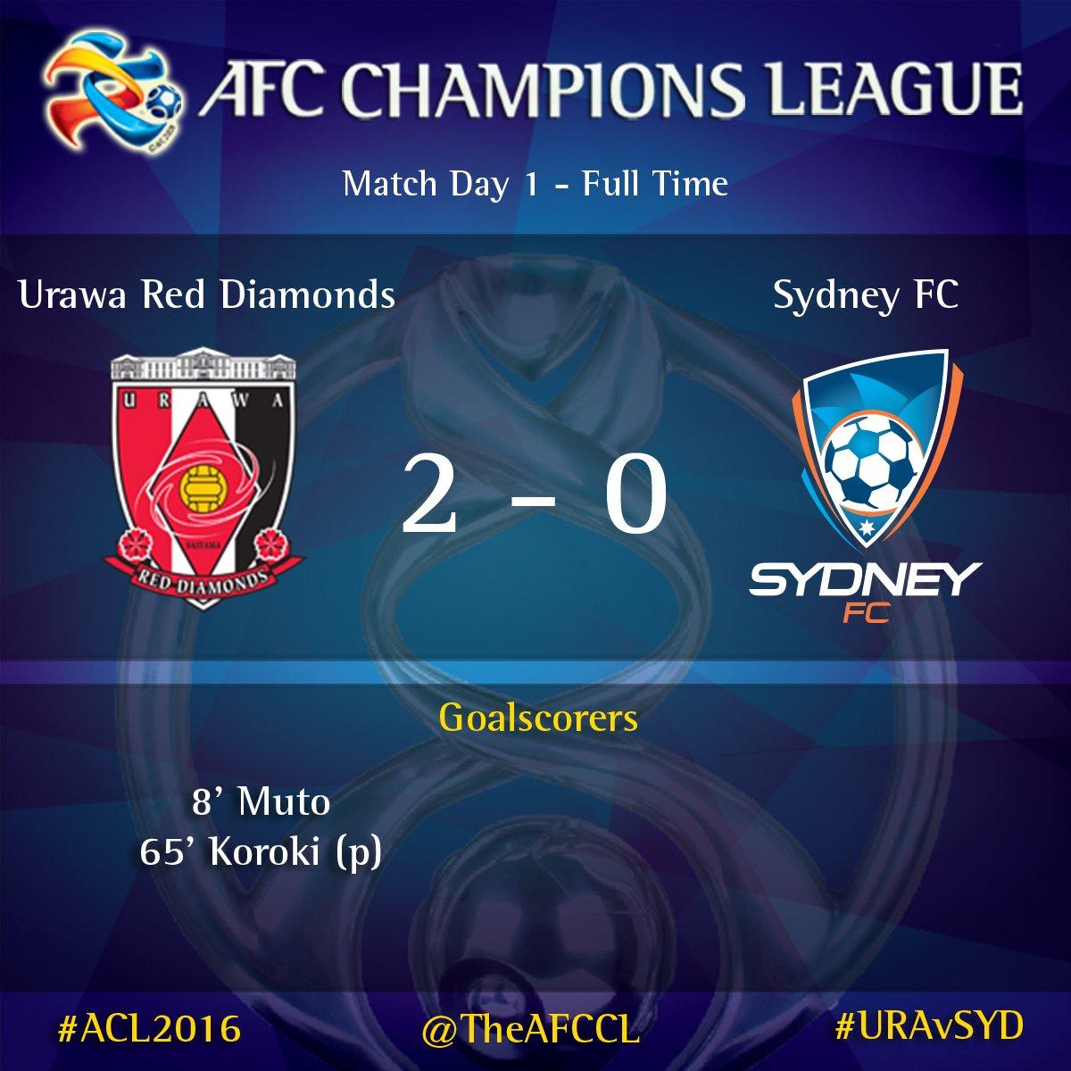 REDSOFFICIAL 2-0 @SydneyFC #ACL2016 #URAvSYD