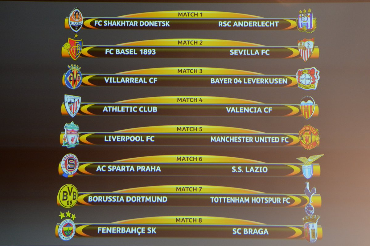 The official result of the #UELdraw 2016 best16