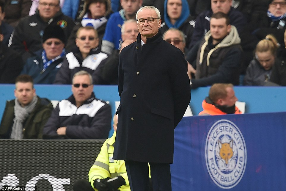 Italian tactician Claudio Ranieri keeps a close eye on proceedings from the touchline as his Foxes