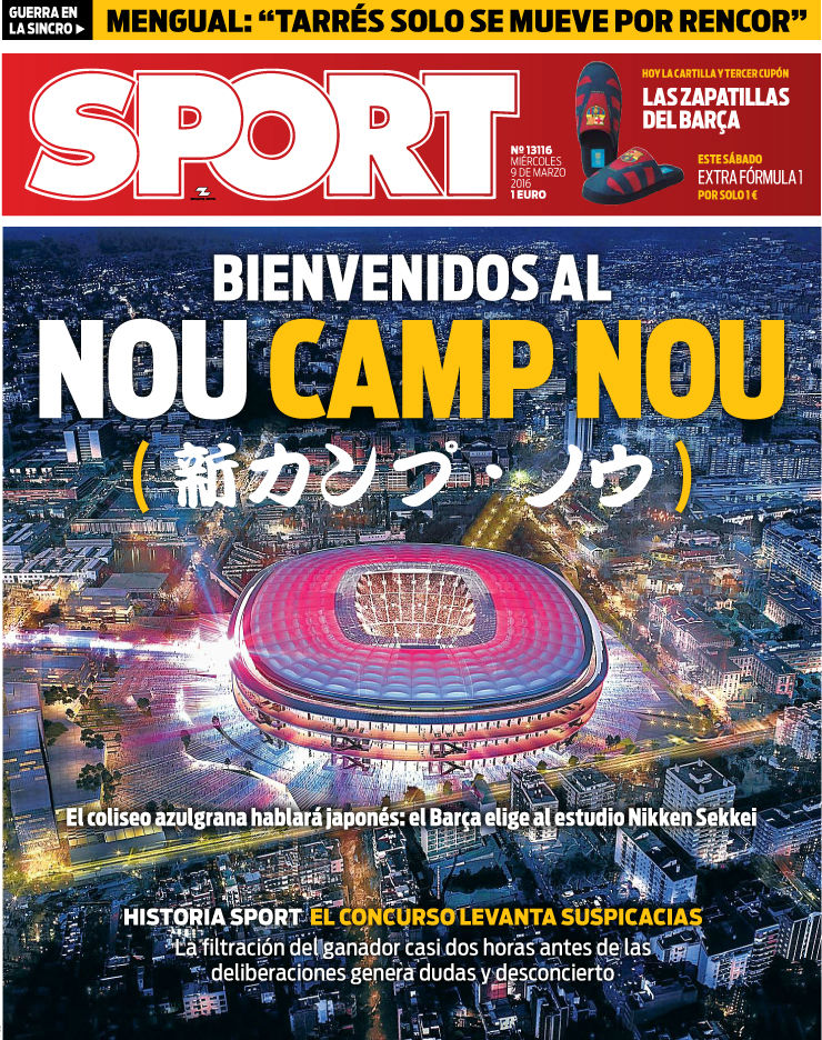 El Nou Camp Nou es el protagonista indiscutible de nuestra portada de este miércoles El estudio japonés Nikken Sekkei