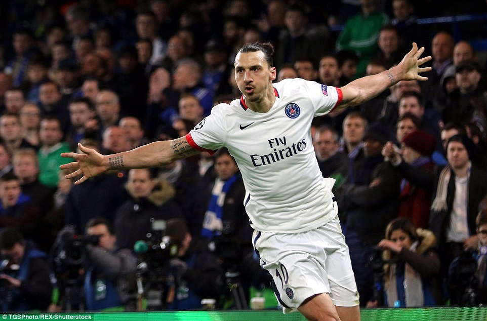 Sweden international Ibrahimovic beats Chelsea goalkeeper Thibaut Courtois from close range with 23 minutes left on the clock