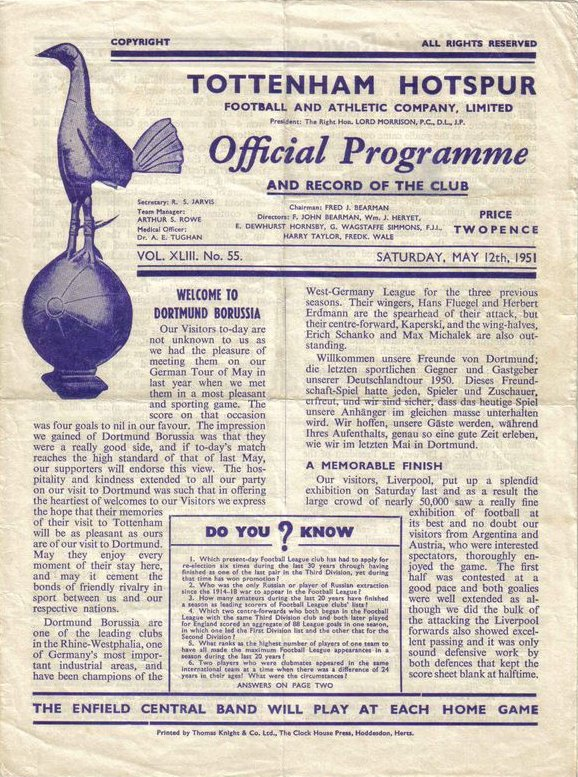 Spurs v Dortmund matchday program(me) 12 May 1951