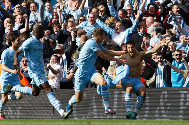 Manchester Citys Sergio Aguero celebrates winning goal 2012 Premier League Season