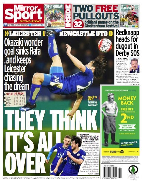 Some of tomorrows back pages, dominated by Okazaki and #LCFC