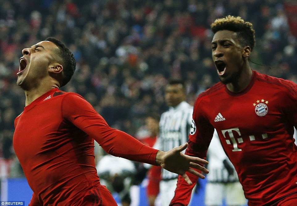 Thiago Alcantara looks ecstatic and removed his shirt after firing Bayern Munich ahead in the second half of extra time against Juventus