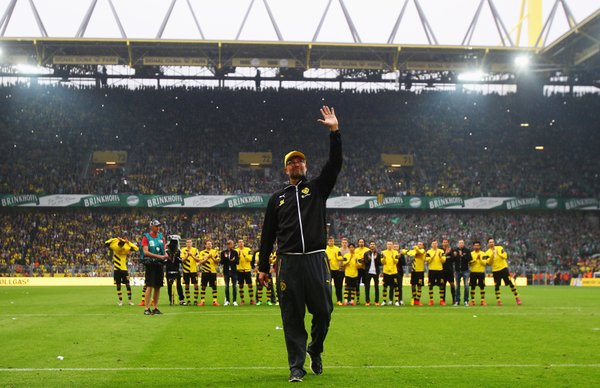 Jurgen Klopp saying his goodbyes to the Yellow Wall Hell be back soon enough