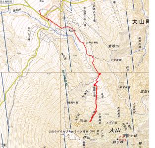大山北壁 軌跡図