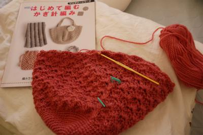 バッグ編みかけ