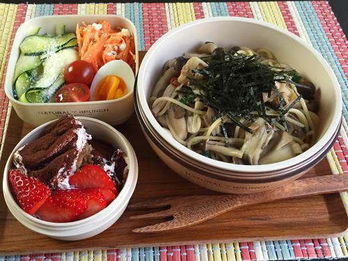 茸とツナのパスタ&サラダ2種弁当01