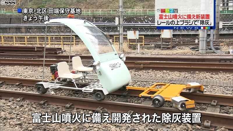 富士山の噴火による電車線路の上に積もった「火山灰」を取り除く装置を開発!電気要らず