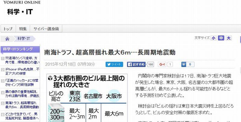 【南海トラフ巨大地震】東京、大阪、名古屋の高層ビルは最大6メートル揺れる可能性