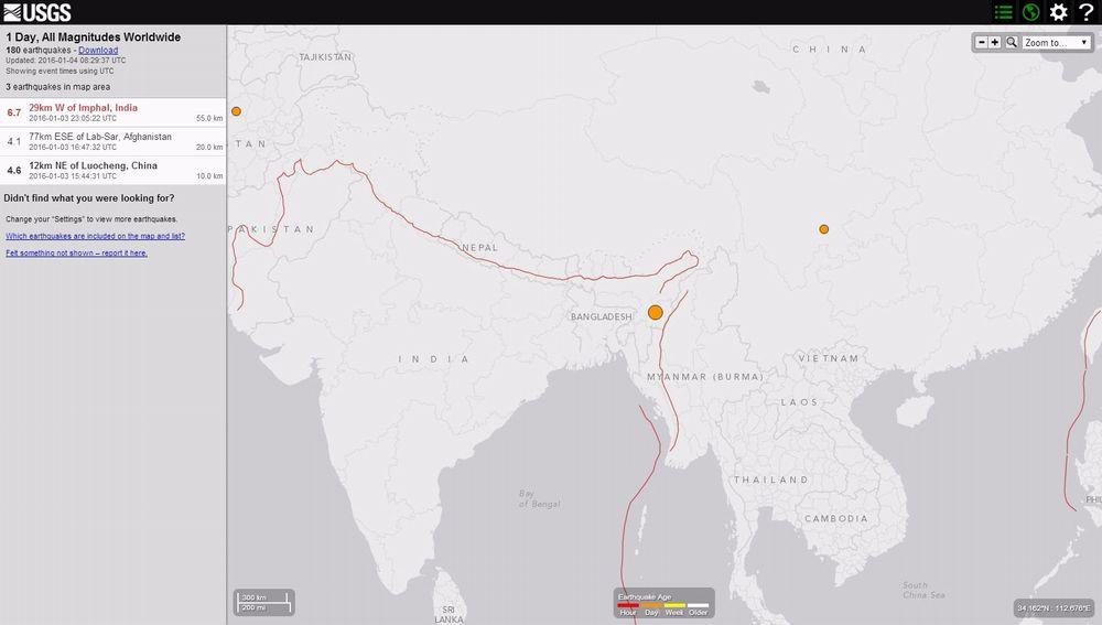 インドでM6.7の地震 深さは約35km