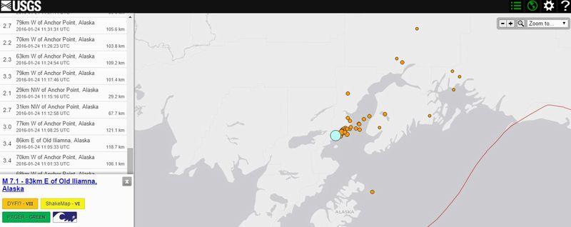 【アリューシャン列島】アラスカでM7.1の大地震発生…M2~3クラスの余震がその後30回以上も!