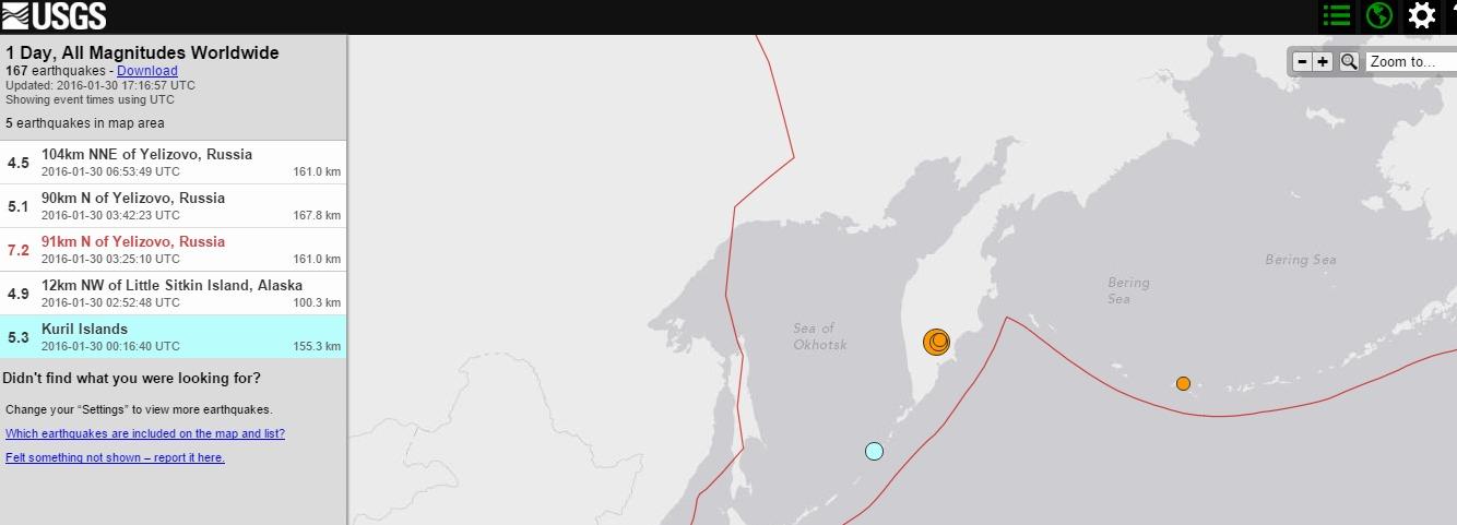 【ロシア】カムチャツカ半島でM7.2の地震発生