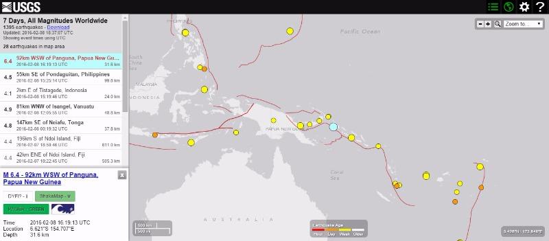 パプア・ニューギニアのソロモン諸島付近でM6.4の地震発生