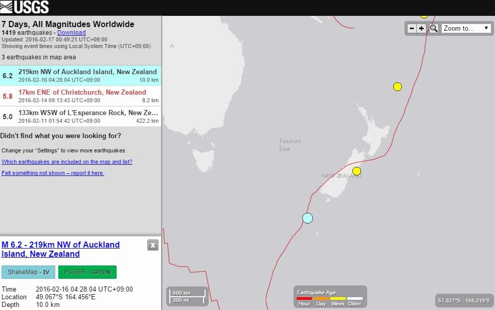 ニュージーランドで16日に「M6.2」の地震が発生…14日にも「M5.8」と地震が相次ぐ