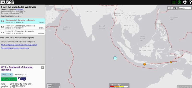 インドネシア・スマトラ島南西沖でM7.8の大地震が発生…震源の深さ約24km 津波警報発令