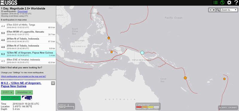 パプアニューギニア付近でM6.2の地震発生