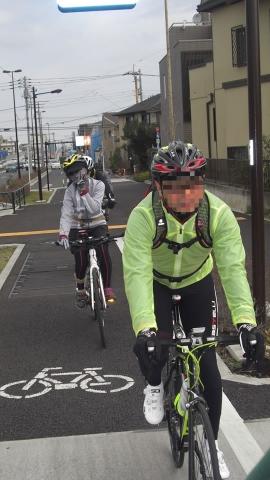 伏見街道の自転車用道路を走ります。