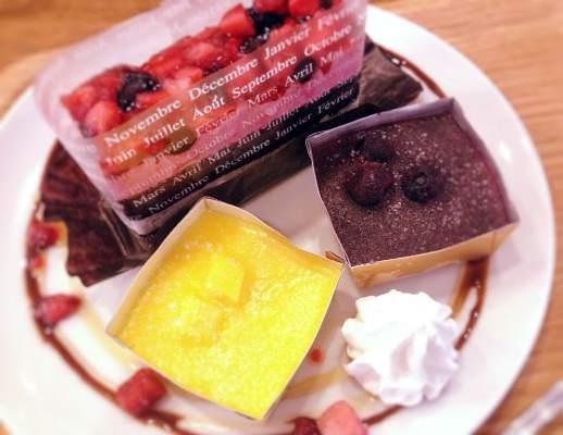 アイスデザートとケーキのプレート縮小