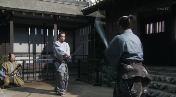 剣術の練習をする上杉景勝 真田丸