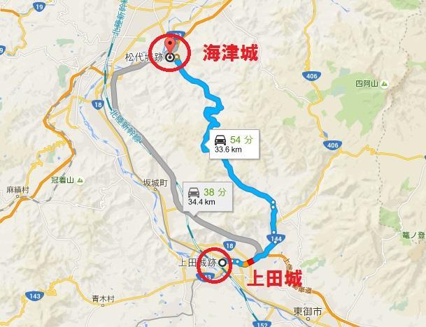 海津城と上田城の位置関係 グーグルマップ 真田丸