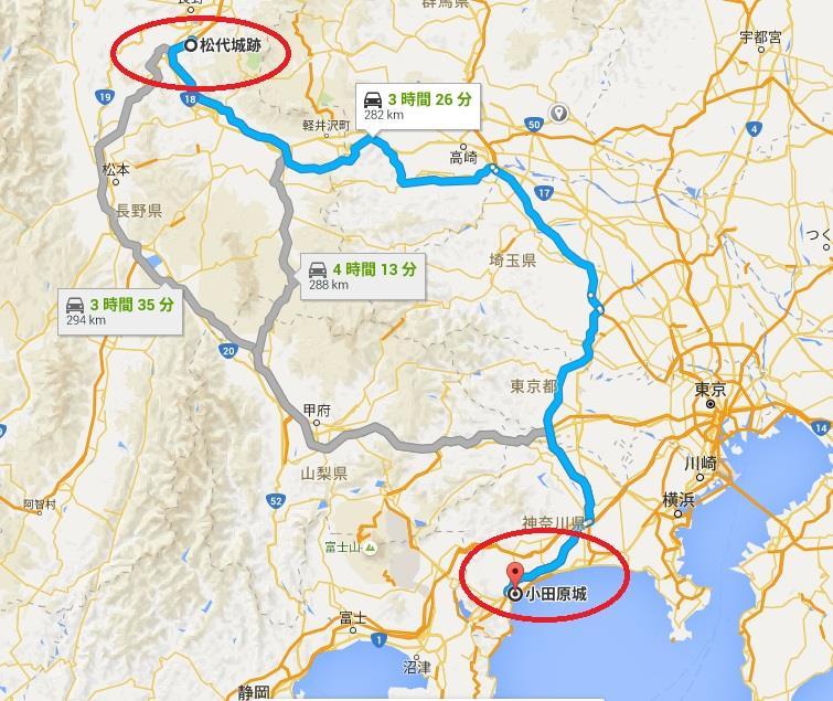 北条軍は上野(こうずけ)を経由して、海津城のある川中島グーグルマップ 真田丸