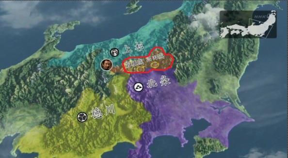 真田家の領地内でこれだけの部分が北条の領地になる 真田丸 地図