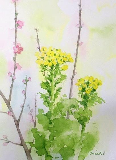 な菜の花と桃の花A