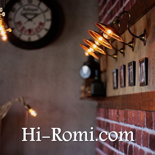 工業系・USAヴィンテージ真鍮製湾曲アーム壁掛ライトシェード付 ブラケット ウォールランプ 壁掛 照明 店舗設計 インダストリアル Hi-Romi.com ハイロミドットコム 20160324