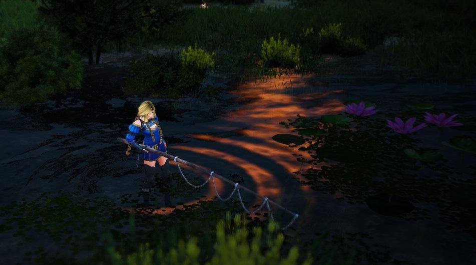 夕暮れ時の釣り