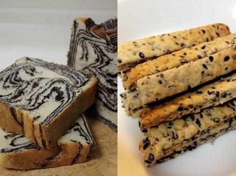 チョコマーブル食パン・黒ごまクッキー
