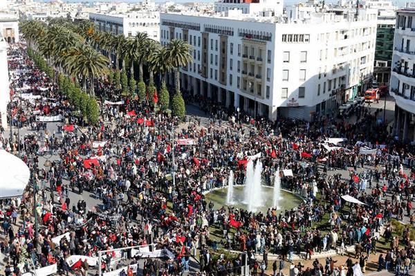 潘基文国連事務総長の発言に抗議してモロッコで行われたデモ=13日、ラバト(AP)_wor1603300034-p1
