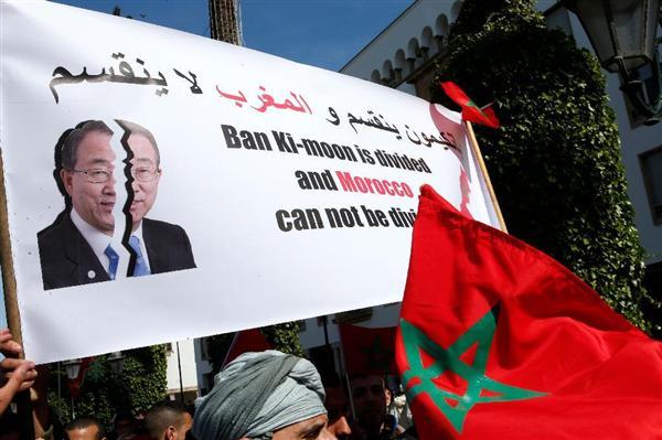 潘基文国連事務総長の発言に抗議してモロッコで行われたデモ=13日、ラバト(AP)_wor1603300034-p2